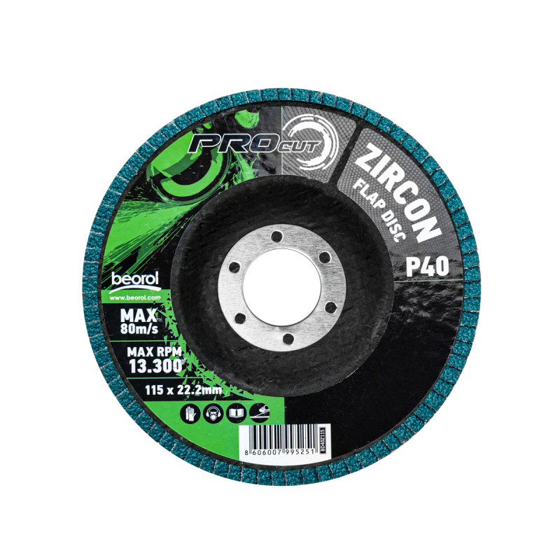 Брусен диск циркон ø115мм, гранулација 40