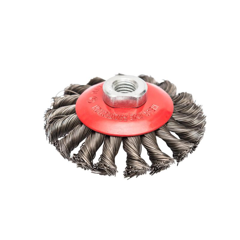 Машинска челична четка кружна вплетена ø100мм за брусилица