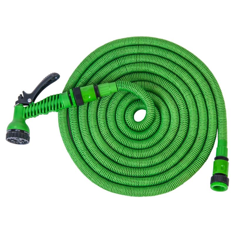 Градинарско растегливо црево 15m, зелено